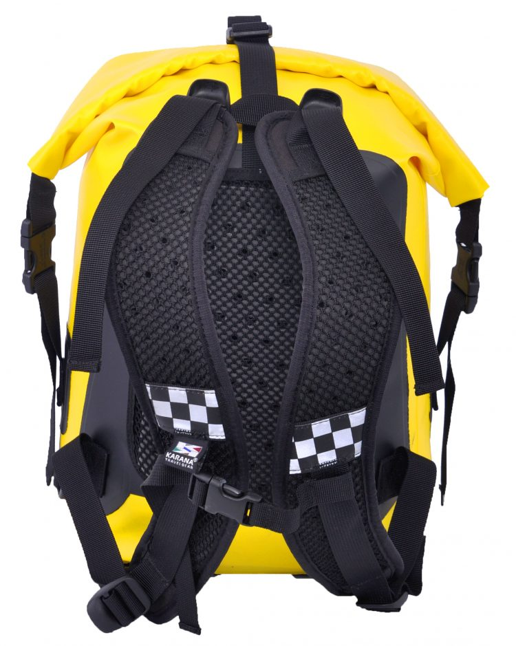 Ocean Pack back pack dry bag by Karana, back system, 15 liters, yellow