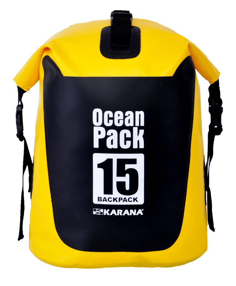 Ocean Pack back pack dry bag by Karana, front side, 15 liters, yellow