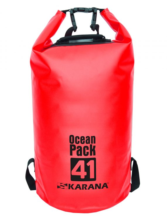 Ocean Pack dry bag by Karana, 41 liters, red