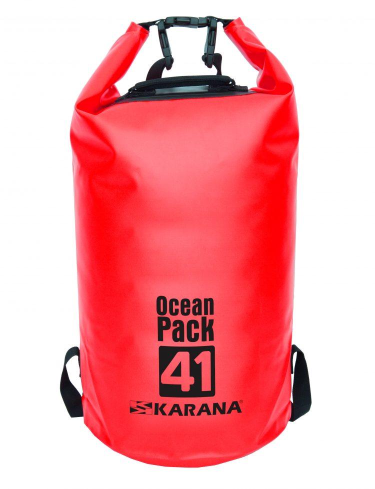 Ocean Pack dry bag by Karana, 41 liters, red