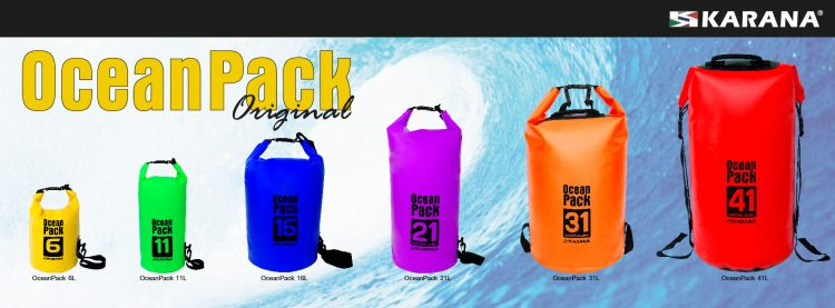 Ocean Pack dry bag by Karana, various sizes and colors