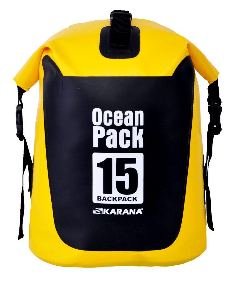 Ocean Pack Rucksack Trockentasche von Karana, Vorderseite, 15 Liter, Gelb